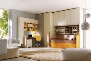 Comp. 206, Cameretta per bambini, letto, cabina armadio, scrivania