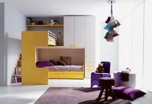 Comp. 407, Letto e comodino per bambini, misure e finiture personalizzabili