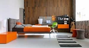 Comp. New 135, Cameretta per ragazzi con letto imbottito e scrivania