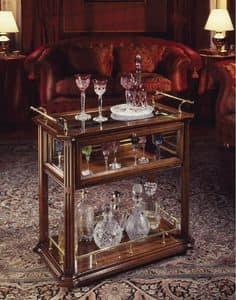 Oxford Art.507 carrello bar, Carrello bar, in noce, con ripiani in legno e cristallo