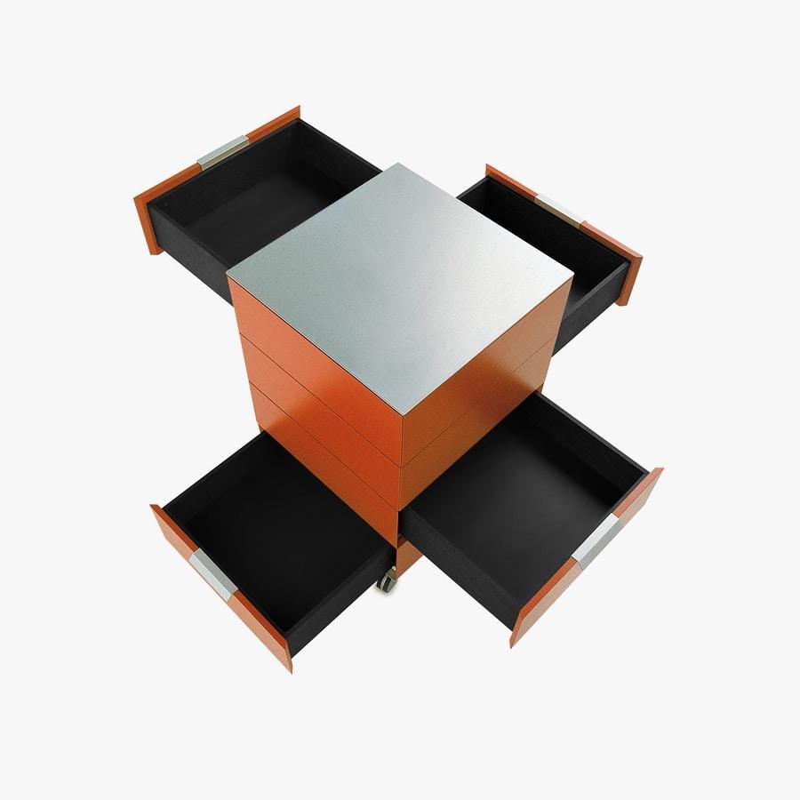 PRISMA comp.01, Cassettiera minimalista con ruote, per ufficio moderno
