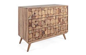 Cassettiera 3C Kant, Cassettiera in legno sheesham