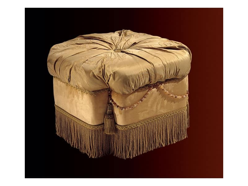 Nathalia pouf paradise, Pouf imbottito per salotto e camera da letto, stile classico