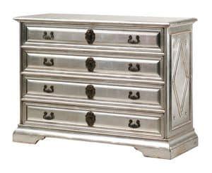 Angelico RA.0754, Com� in legno ebanizzato con 4 cassetti, in colore argento, per ambienti in stile classico di lusso