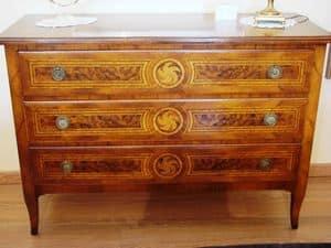 Art. 087, Comò in radica con 3 cassetti per camere da letto di lusso
