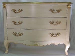 Art. 1787 avorio, Comò in legno decorato, per camere classiche di lusso