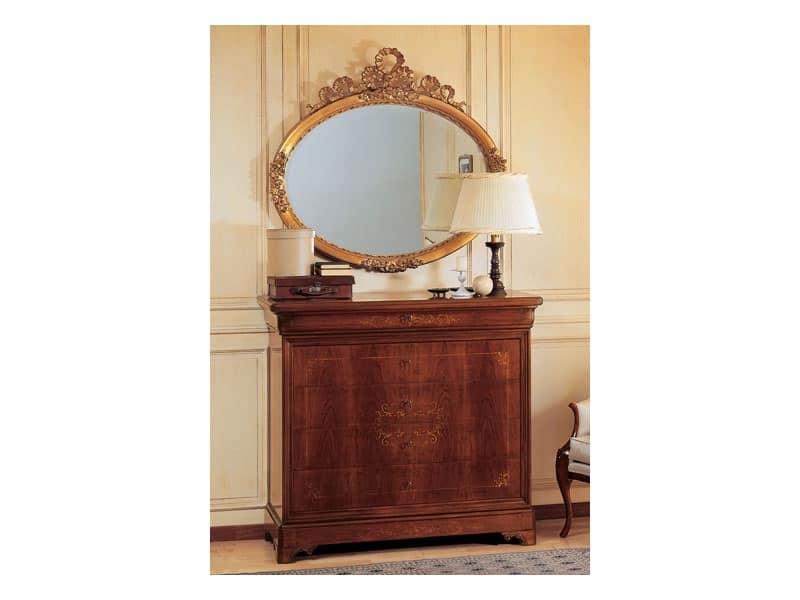 Art. 279 comò '800 Francese Luigi Filippo, Comò in legno, lavorato a mano, per villa storica