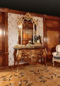 Art. 399, Com� intarsiato per lussuose camere da letto, con specchiera dorata