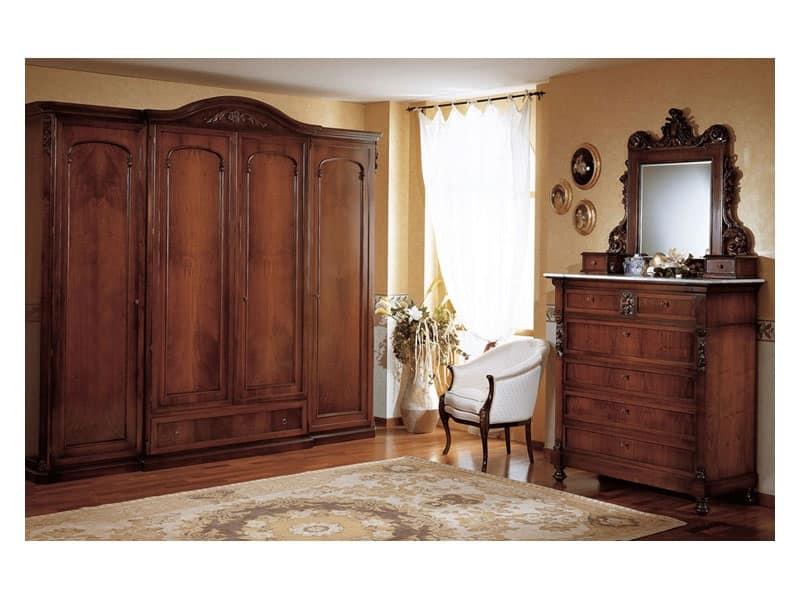Art. 973 comò '800 Siciliano, Cassettoni classici, in legno decorato, per zona notte