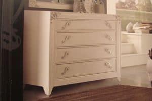 Art. IR092, Cassettone laccato bianco perla per camere da letto