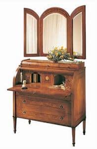 C179 Renoir bureau, Bureau con ribalta, in massiccio noce, classico di lusso
