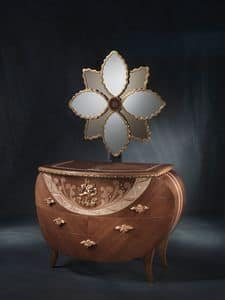 CO18 Vanity comò, Comò con specchiera, in noce, decori in foglia oro e rame