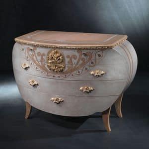 CO17 Vanity comò, Comò classico, in legno, decori in foglia oro