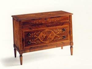 Keats, Comò classico a tre cassetti, in legno di abete