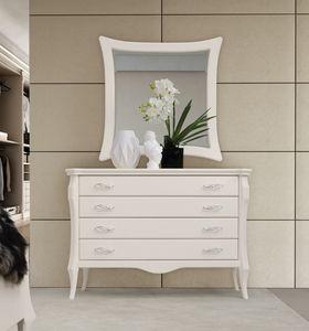 MONTE CARLO / com�, Com� a quattro cassetti, laccato bianco