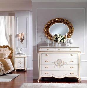 OLIMPIA B / Comò laccato avorio, Cassettiera in legno, stile classico, per albergo di lusso