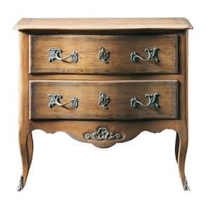 Oscar FA.0070, Comò transition regionale in legno, con piccola decorazione floreale sotto i 2 cassetti, ideale per camere da letto.