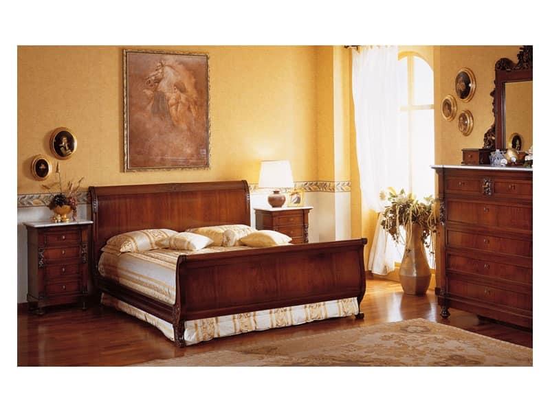 Art. 973 comodino '800 Siciliano, Comodini in legno, piano in marmo, per Hotel e alberghi lussuosi