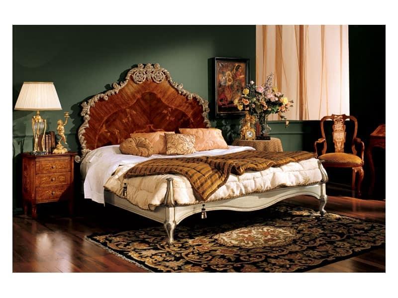 Barocco comodino 735, Comodino in legno con 3 cassetti, stile barocco