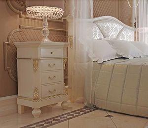 Carlotta comodino, Elegante comodino laccato bianco