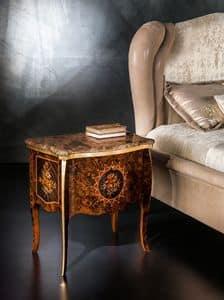 CD27 Metamorfosi comodino, Comodino con piano in marmo ideale per camere da letto