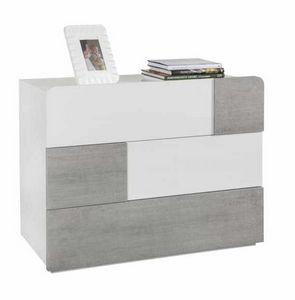 Comodino Com� Bianco Lucido 3 Cassetti Effetto Cemento Design Moderno, Comodino moderno per camera da letto