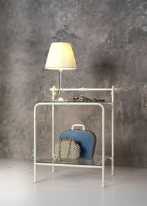 Comodino Versilia, Comodino classico in metallo e vetro, per Camera albergo
