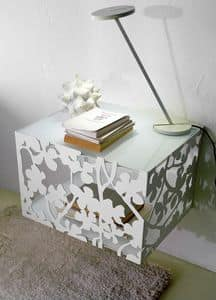 Flower sospensione, Comodino in sospensione, base in metallo, piano in vetro