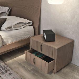 Nova NOVA1303T, Comodino moderno in legno con zoccolo