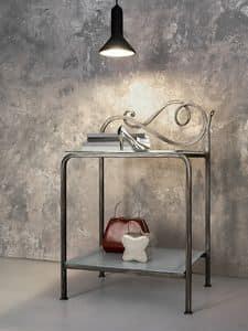 Toledo comodino, Comodino in metallo con 2 piani in vetro trasparente