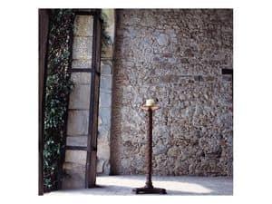 Eros, Portacandela con colonna in legno e piatto in rame