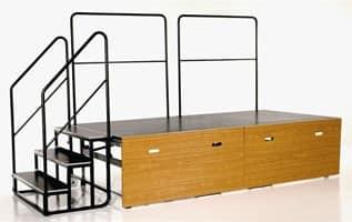 Centrefold, Pedana pieghevole su ruota, con scalini e corrimano