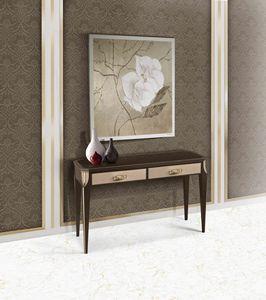ART. 3362, Consolle con cassetti, piano in vetro