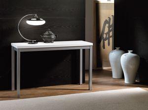Art. 723 Consollina, Consolle in metallo, con piano in nobilitato bianco