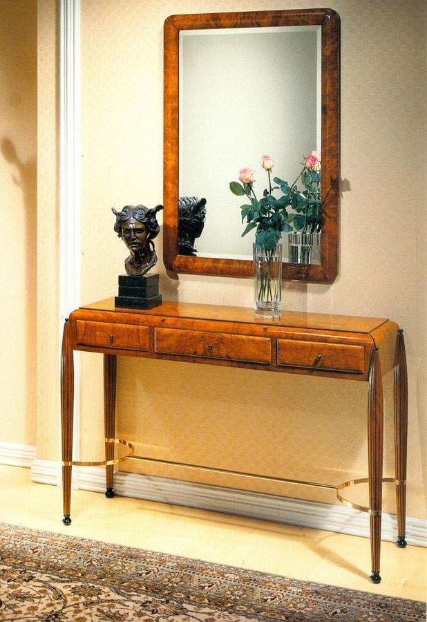 Art Déco Art.549 consolle, Consolle Art Dèco in radica, piano in legno