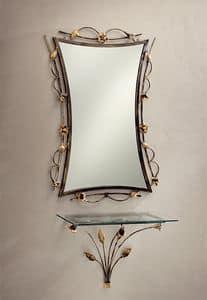 CO/400, Consolle da parete in ferro battuto decorato, piano in vetro