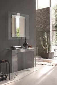 SAGITTA COC05, Consolle e specchiera in vetro curvato ideale per ambienti moderni