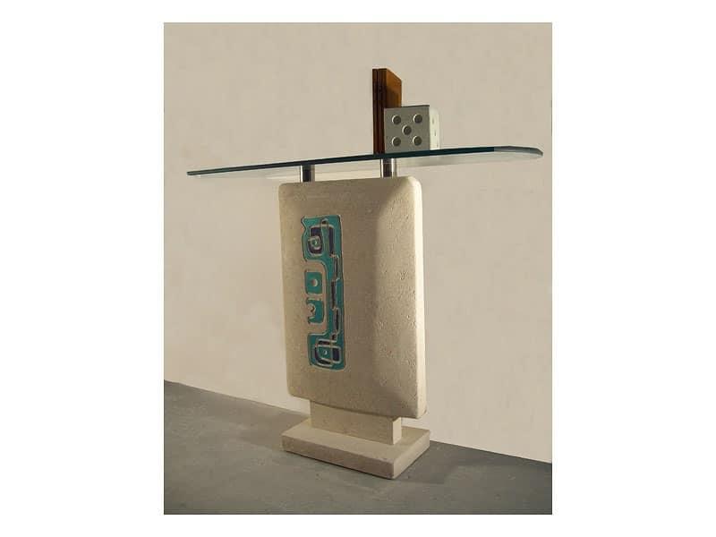 Settanta consolle, Consolle per ingresso, base in pietra e piano in cristallo