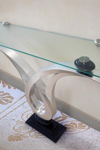 Zodiaco, Consolle con piano in vetro, struttura finitura foglia argento, per arredo ingressi