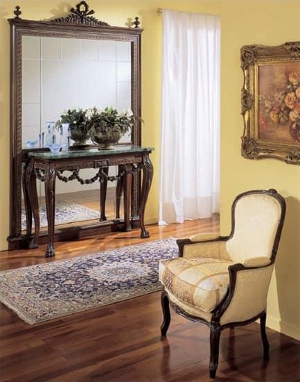 3160 CONSOLLE, Consolle classica di lusso, intagliata a mano, piano in marmo