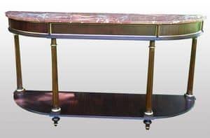 3800 CONSOLLE L.XVI, Consolle in mogano con piano in marmo rosso, stile classico