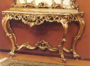 560 CONSOLLE, Consolle in stile barocco con piano in marmo
