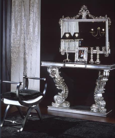 703 CONSOLLE, Consolle con piano in marmo Marquinia, classico di lusso