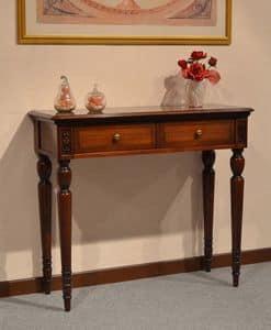 Alice consolle, Consolle classica di lusso in legno, con 2 cassetti