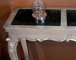 Art. 365/HTL Mary.co., Consolle in legno, piano in eco-pelle, finitura argento