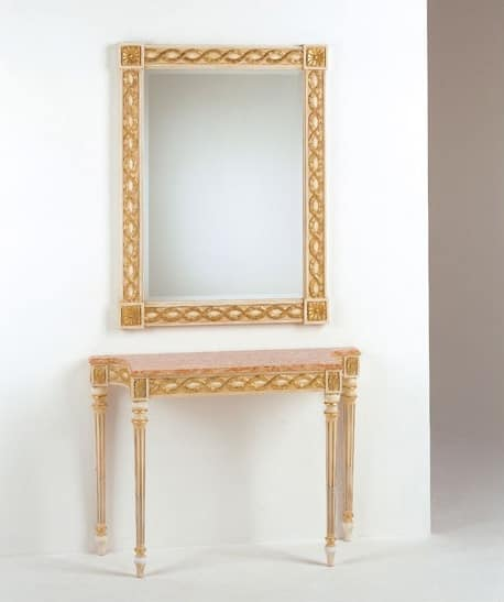 Art. 710, Consolle classica di lusso, piano in marmo, per ingresso