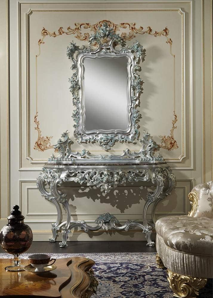 Art. 770 Consolle Barocco, Consolle con intagli artigianali, con specchiera abbinata