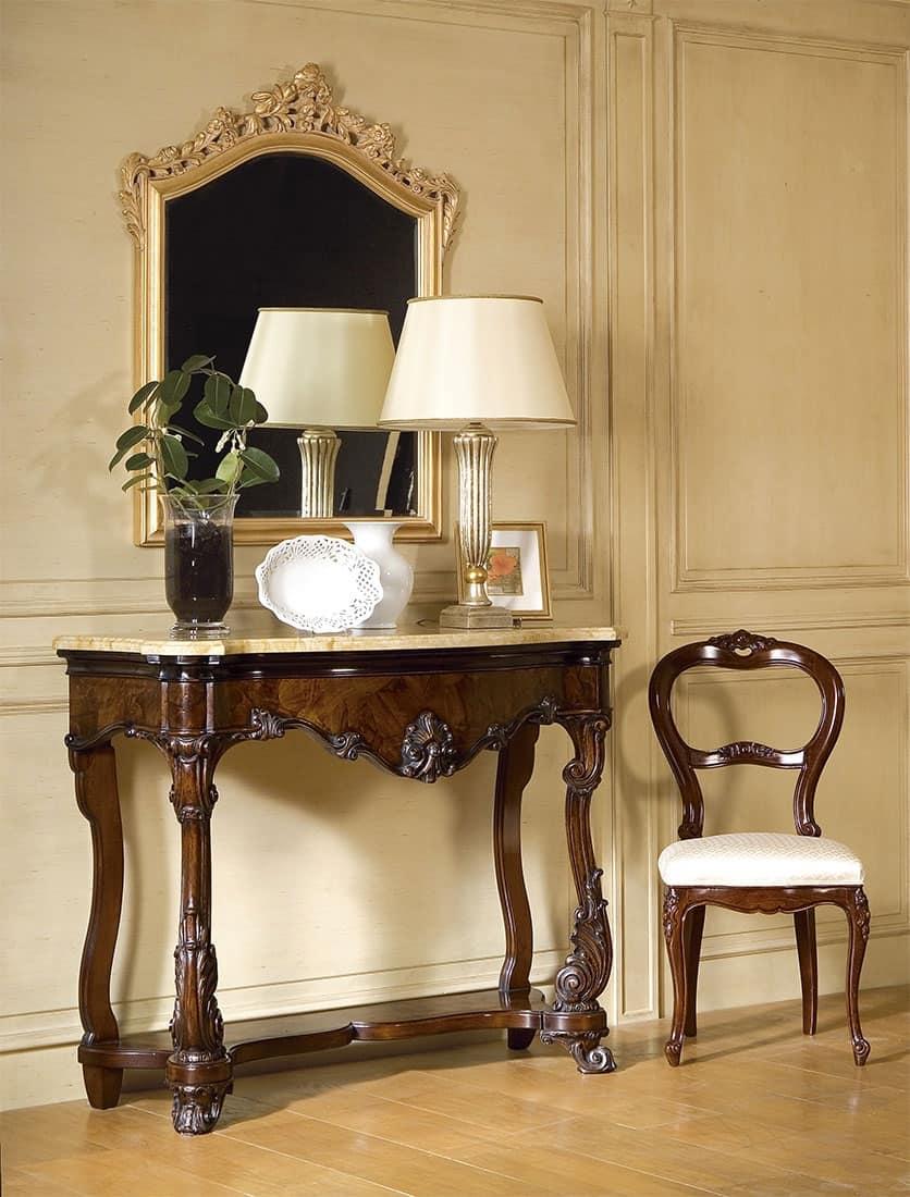 Art. 972, Consolle classica di lusso, piano in marmo, per importanti Hall