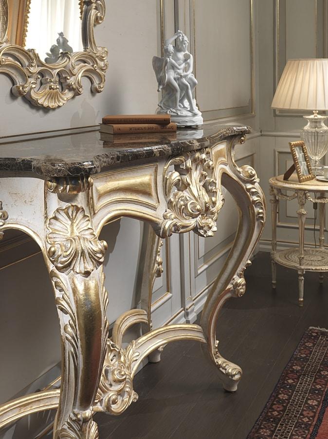 Art. 990, Consolle in stile, vistosi intagli artigianali, per Albergo lussuoso