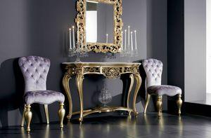 Boemia consolle, Consolle in legno intagliato con piano in marmo